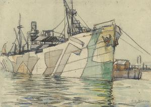 Dazzled Transport Leaving Portsmouth Harbour, February 1918