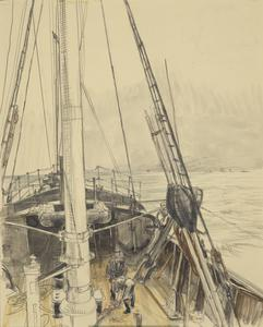 Forward from the Wheelhouse, HM Trawler Mackenzie: the figures are just about to slip the 'kite' used to sink the wire hawser to the required depths for sweeping