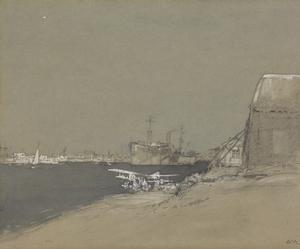 "The Seaplane Station, Port Said : showing the seaplane-carrier ""Raven"" (late German ""Rabenfels"") and Navy House on the left (RNAS)"