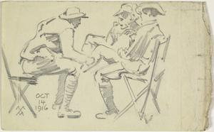 Sketch of Three Soldiers, October 1916