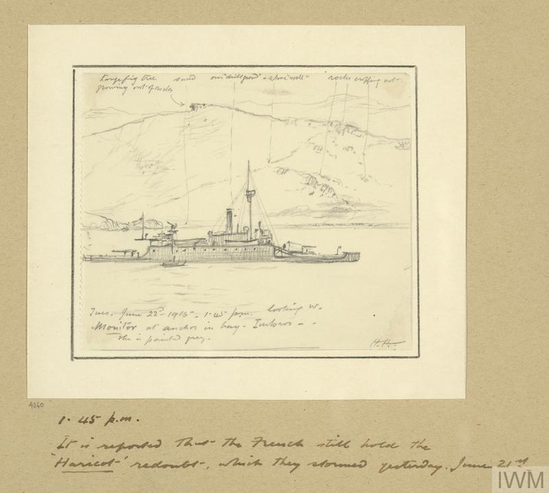 Monitor at Anchor in Bay, Imbros, 1.45pm, June 22nd 1915