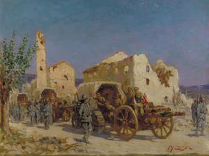 The Arrival of the First Guns on the Carso Front, Italy, 1916