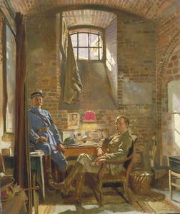 In their Cellar in Amiens: Captain R Maude, DAPM, who was awarded the Croix de Guerre by the French Authorities, and Colonel du Tiel, Commandant d'Armes Amiens