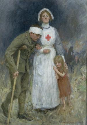 Nurse, Wounded Soldier and Child