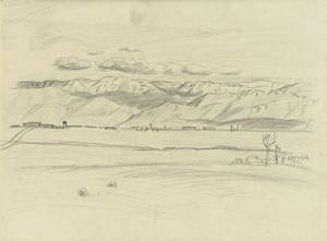 Study for 'A Destroyed Turkish Aerodrome at Rayak, Lebanon, 1919' (IWM ART 3139)