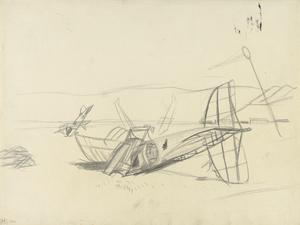 Study for 'A Destroyed Turkish Aerodrome at Rayak, Lebanon, Syria' (IWM ART 3139)