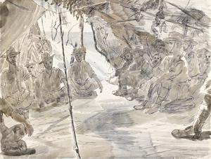 Gallabat : Royal Garhwal Rifles. Stretcher bearers at the Regimental Aid Post