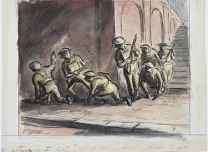 A Day with the Home Guard : Home Guards advancing under a bridge on the river Front