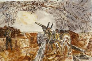 Gun-Team Firing in the Rain, Normandy : June 1944