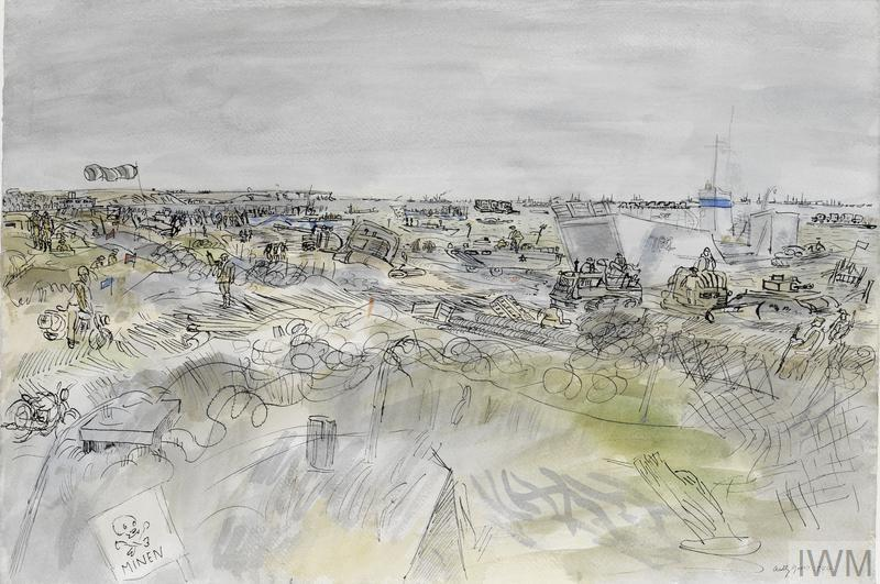 Liberation and Battle of France: Jig Beach looking towards Le Hamel, 7th June 1944