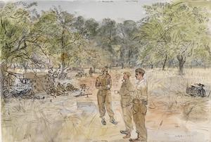 Liberation and Battle of France: Carrier Platoon of 7 Battalion, Green Howards, near Longraye, Normandy, with Sergeant M W Pinkley, Lieutenant L W Hardbottle And Captain W Murray