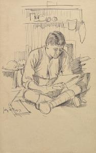 Sketch portrait of Coviello at Roclincourt