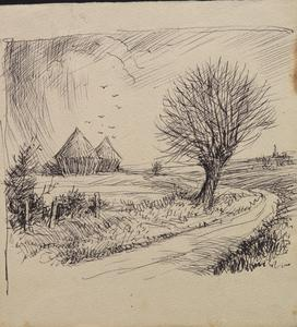 Road and landscape near Linghem