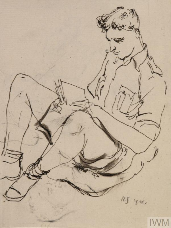Soldier Reading. At Sea, 1941