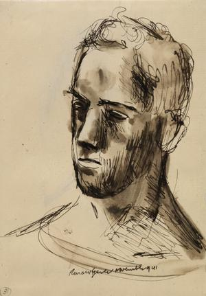 """At Sea - Portrait of a Sailor, November 1941 verso: """"I've just bought down a Junkers 88"""""""