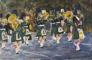 Hamm: Freedom Parade. Gordon Highlanders Band Marching, 1 September 1984