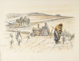 Land Work in War-time - Portfolio of four lithographs Ploughing