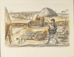 Land Work in War-time - Portfolio of four lithographs Lambing Time: A Cotswold Ewe Pen