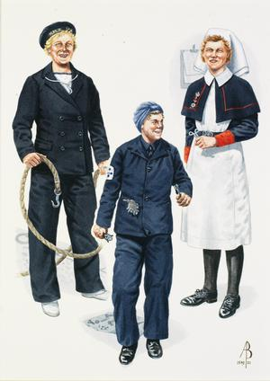 WRNS and QARNNS: WRNS Boat Crew, Home Waters 1943; WRNS Motor Mechanic, Home Waters 1943; Nursing Sister, QARNNS Reserve, 1942