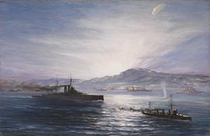 "The Dawn Of Anzac Day, Sunday 25th April 1915: On the left ""HMS Queen Elizabeth"" moves into position"