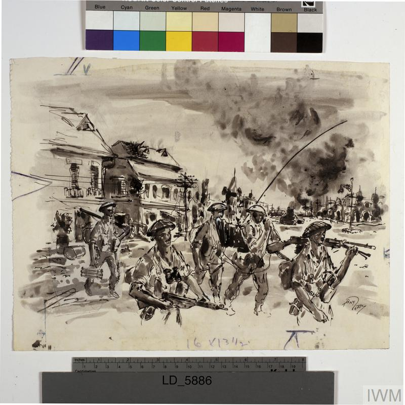 Indian Troops attacking Positions in Surabaya, Java, 1945