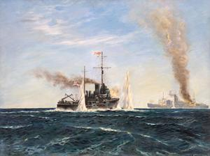 The Sinking of an Armed Japanese Raider by HM Minesweeper Bengal : On 11th November 1942, in the Indian Ocean