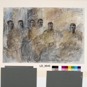 The 50th (Northumbrian) Division, 1944: Officers of the 124th Field Regiment, RA : Lieutenant L G Heptinstall ; Lieutenant A E Kilner, Royal Corps of Signals ; Captain J W Doweswell, MC ; Lieutenant D S Toynbee ; Lieutenant H Irwin ; Lieutenant JJS Bury