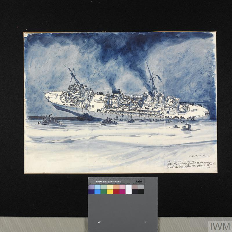 HMS Hecla Sinking off the West Coast of Morocco : 11th November 1942