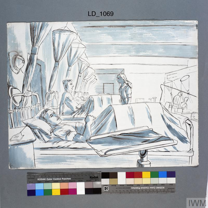 A Military Hospital, Middle East : ward with leg cases
