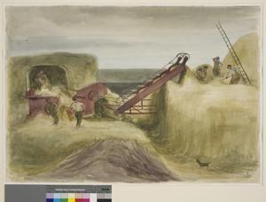 Land-Girls and Soldiers Threshing at Maldon, Essex