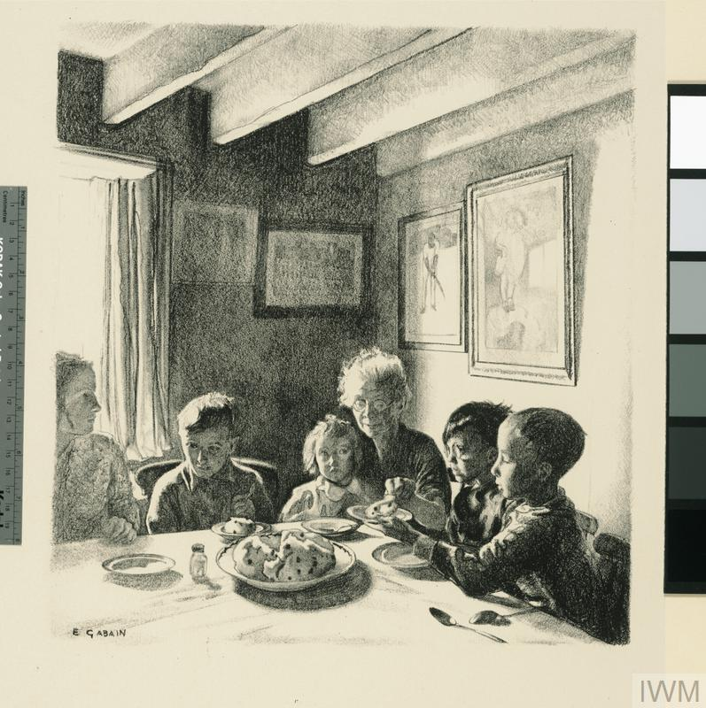Evacuees in a Cottage at Cookham Children in Wartime - Five lithographs by Ethel Gabain