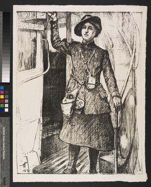 In The Towns; A 'Bus Conductress 'Britain's Efforts and Ideals - Women's Work'; Women's Work