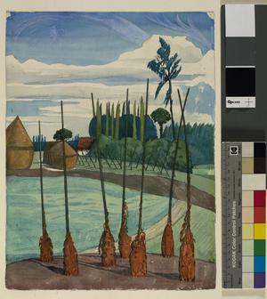Near Houdkerk, Belgium : Bean poles in a field near the Camp of the 1st Artists' Rifles