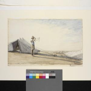 Reveillé : the tents of the Imperial Camel Corps. The Australian trumpeter wakes the sleeping camp