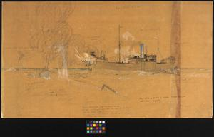 HMS Dunraven in Action with the Submarine which Sank her. Rough sketch for the proposed picture.