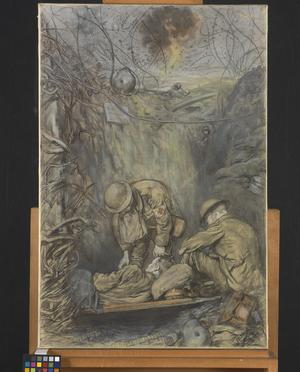 After an Attack : the RAMC attending to the wounded in a captured German trench
