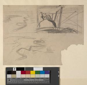 Sketches of a British Pilot Flying a BE2C and an Aerial View of the River Euphrates, July 1919