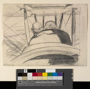 Sketch for 'A British Pilot in a BE2C approaching Hit along the Course of the River Euphrates, July 1919' (IWM ART 4617)