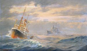The Belfast Boarding a German Merchant Ship