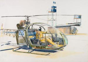 recto: Helicopter being tested at UN Port verso: Compositional Sketch 'Cyprus' Series, 1978