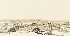 War Drawings By Muirhead Bone: Distant View of Ypres