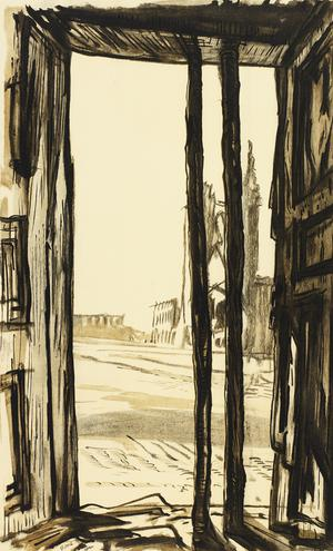 War Drawings By Muirhead Bone: Grand Place and Ruins of the Cloth Hall, Ypres