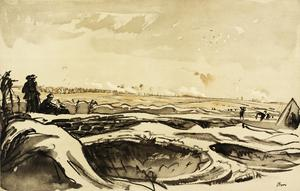 War Drawings By Muirhead Bone: Watching our Artillery Fire on Trônes Wood from Montauban