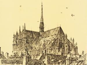 War Drawings By Muirhead Bone: Amiens Cathedral