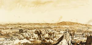 War Drawings By Muirhead Bone: Panorama from the Scherpenberg looking to Wytschaete, Messines and Kemmel