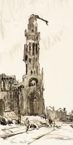 War Drawings By Muirhead Bone: Albert Church- after Bombardment by the Germans