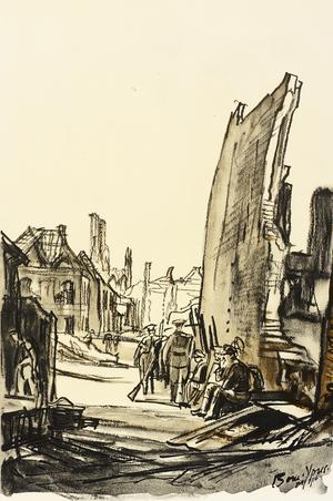 War Drawings By Muirhead Bone: Ruins of Ypres-Cloth Hall In Distance