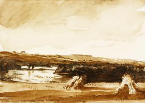 War Drawings By Muirhead Bone: The bend of the River Somme near Corbie