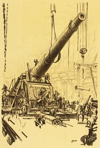 War Drawings By Muirhead Bone: Mounting a Great Gun
