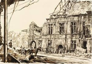 War Drawings By Muirhead Bone: The Town Hall, Péronne